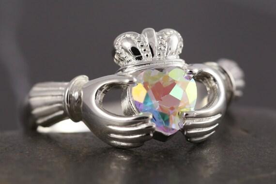 Mercury mist mystic topaz Claddagh ring in sterling silver