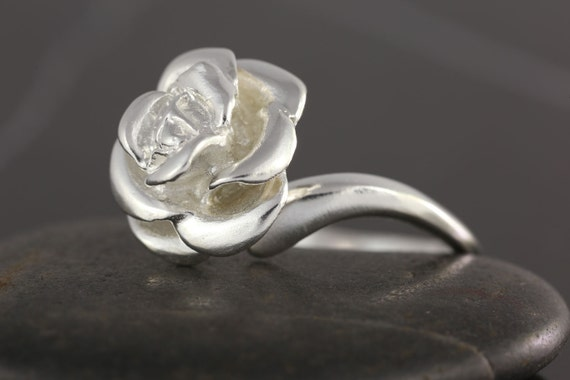 Rose ring in Sterling silver - Oxidized or polished