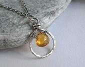 Citrine Necklace, Sterling Silver, Golden Yellow, Heart Briolette Gemstone, November Birthstone, Boho Jewelry