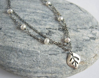 Set Of Two Pearl Choker Leaf Charm Necklace, Double Strand Sterling Silver Layered Necklace