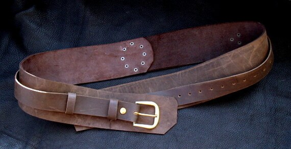 steunk pirate leather belt wide brown belt with brass