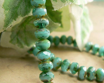 Emerald Opaque Blue Czech Glass Beads Rondell Green Aqua Picasso 5x3mm (30)
