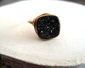 Druzy Ring Black Starlit Vitrine Cocktail Ring Cushion ring Statement ring Gift for her Under 50