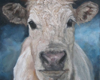 SWEET Dunn Brown COW Oil Painting, Vermont country art, Archival PRINT of original painting 8 by 10 other sizes available