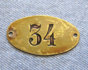 Rustic Brass Number 34 Tag Antique PO Box Door Plate Victorian Black Painted Numbered ID Hardware