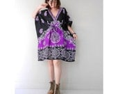 Purple Floral India Silk Kaftan Swimsuit Women cover up Beachwear Summer work caftan One fit All (KF 04)