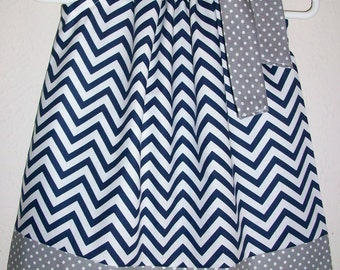Dallas Cowboys Dress Pillowcase Dress Chevron dress navy blue and grey Game Day dress Girls Dresses baby dress toddler dress Kids Clothes