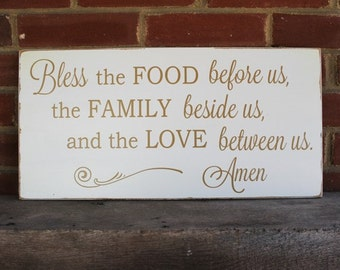 Bless The Food - Family - Love Wood Sign Wall Art Grace Be Thankful Thanksgiving Prayer Home Decor Holiday Sign