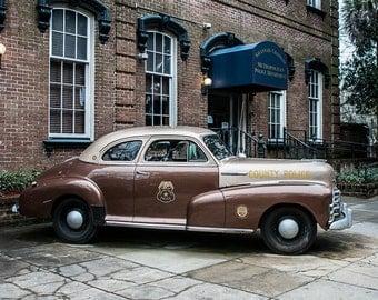Classic Car Photograph, Police Car, Savannah Georgia Photography, Chevy Coupe Photo, Savannah Photography, Police Decor, Police Wall Art