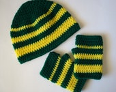 U of O Oregon Ducks Adult Beanie and Matching Mitts in College Colors READY TO SHIP