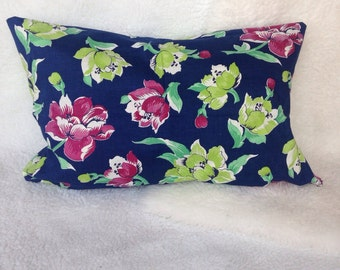 lovely vintage blue floral peonies pink and chartreuse leaves hawaiian pillow cover 16x20