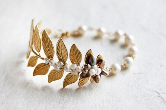 Gold Leaf Bracelet With Pearls Leaf Cuff Bracelet Leaf Wedding Bracelet Pearl Leaf Cuff bracelet Pearl Bracelet Leaf Cuff Bracelet