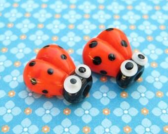 2 Glass Ladybug Beads - 14mm Beads - Orange Ladybug - Glass Ladybugs - Lampwork Ladybird - SRA Handmade - DIY Jewelry - D
