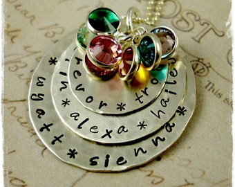 Grandma or Mom Hand Stamped Jewelry -  Personalized Mothers Necklace - Layered Stacked Large Triple Discs Custom with Birthstones