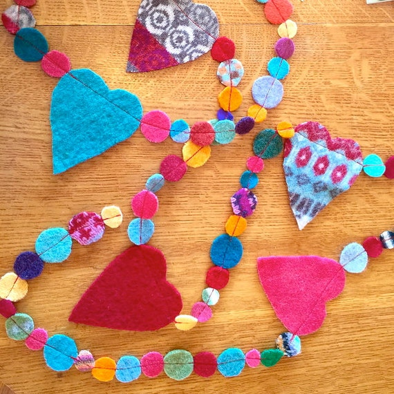 colorful felt garland with hearts and circles 9""