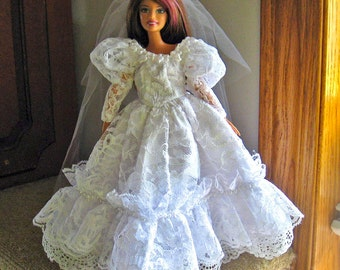 Barbie Wedding Dress White Lace Beaded Wedding Gown