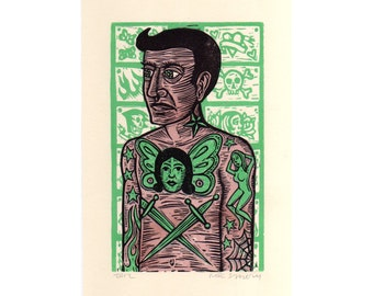 Tattoo Linocut Art Print, Tattoo Man Linocut Art Print Home Decor