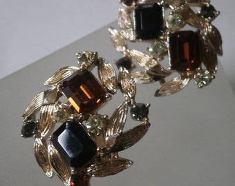 Vintage 60's Coro Earrings, Gold with Black & Topaz Stones, Clip-on