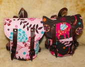 Pink/Brown Backpack With real Leather Straps for 18 inch Dolls