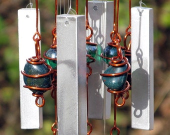 December Birthstone Bloodstone Windchime with Recycled Aluminum and Copper Wrapped Iridescent Clear & Emerald Green Glass Marbles