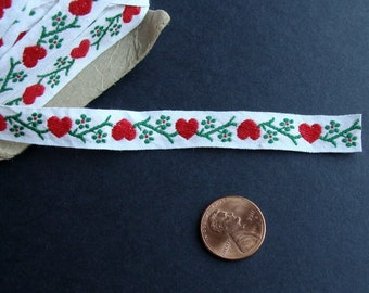 1 Yard Vintage Hearts & Flowers Woven Cotton Ribbon