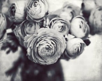 "Black and White Art, Still Life Photography Print, Gray Flowers, Ranunculus, Monochrome Wall Art 8x10 16x20 print  ""Gray Bouquet"""