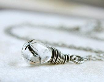 Black Rutilated Quartz  Necklace  Oxidized Silver Gemstone Jewelry  Gem Stone Pendant   Handmade Gifts Teardrop Necklace