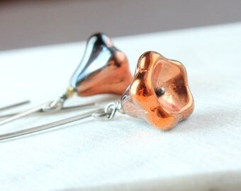 Orange Glass Earrings Oxidized  Silver  Two Tone  Earrings Woman Jewelry Handmade Accessories Made For Her