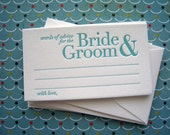 Letterpress Advice Cards - words of advice bride and groom (pack of 50)