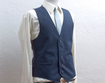Men's Large Vest / Vintage Navy Blue Pinstripe / Size 41