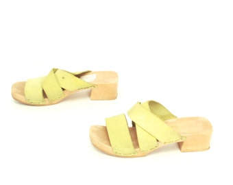 size 7 CLOGS lime green leather 80s 90s PLATFORM mules slip on sandals