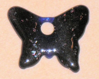 Royal Transparent Purple and Blue Butterfly Molded Glass Pendant