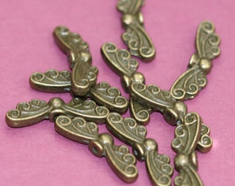 10 pcs of antiqued brass angel wings spacer beads 22x7mm