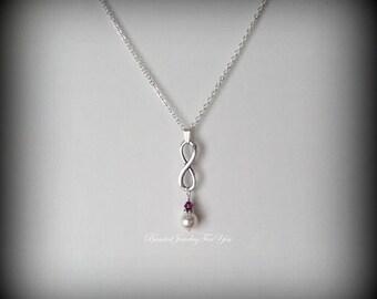 Bridesmaid Pearl Infinity Necklace: Wedding Jewelry, Bridesmaid Necklace, Wedding Necklace, Bridesmaid Jewelry, Bridal Jewelry, Wedding