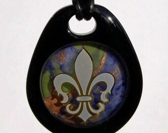 Mardi Gras, New Orleans, Fleur de Lis Fused Glass Pendant