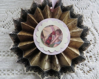 Handmade Victorian Valentine Decoration Cottage Chic Ornament Cupid with Envelope of Hearts Toile and Black Lace