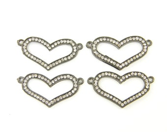 Heart Bracelet Link Gunmetal Rhinestone Bracelet Connector Jewelry Connector - Dark Open Heart Finding Pendant  S7-1 4 XH