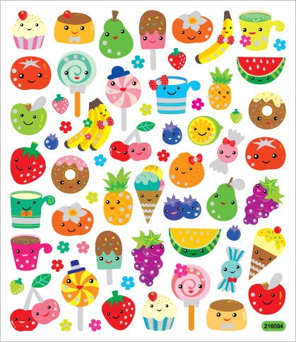 Kawaii Fruit Faces Sticker Great For Decorating Card