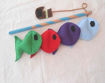 Fishing Game, Felt Fishing Game, Fishing Toy, Fish Game, Montessori Toy - READY MADE