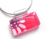 Pink flower pendant necklace | handpainted glass by azurine |