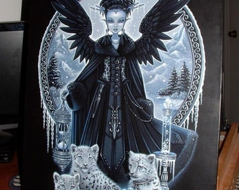 SALE Gothic Winter Snow Leopards Fairy Queen Wynter Myka Jelina Original Painting