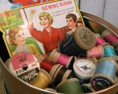 Sewing Tin Packed with Vintage Thread and Needles old wooden spools ECS RDT