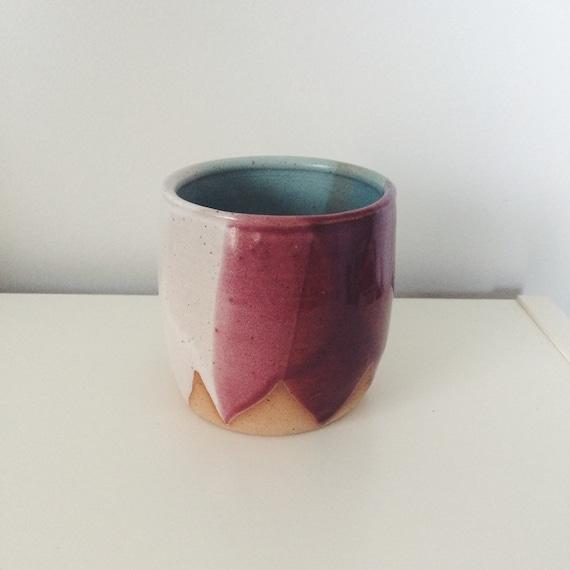 Tri color handleless ceramic mug pink turquoise by thelulubird - Handleless coffee mugs ...