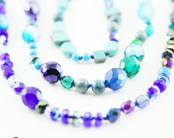 Hand Knotted Blue Beaded Wrap Necklace (N56)