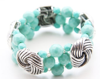 Antique Silver Button and Turquoise Crystal Vintage Inspired Cuff Bracelet (B2A)