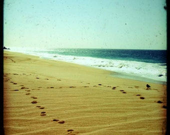 Beach Bliss - Footprints (in the sand, summer beach photo print, green ocean waves dreamy, Mexico travel photography, Jesus religious art)