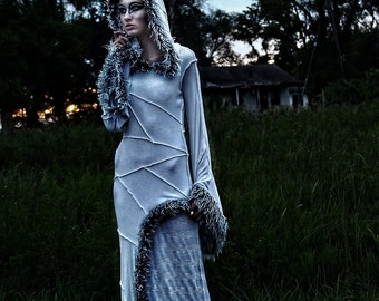 "N.H.I. designer dress ""SNOW TRAVELER"" fur dress gown winter 2014 collection haute couture avant garde"