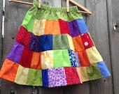 Rainbow Patchwork Ruffled Tiered Girls Skirt
