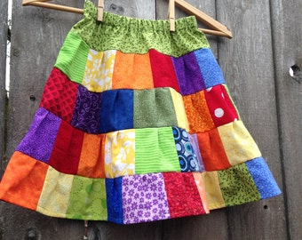Rainbow Patchwork Ruffled Tiered Girls Skirt