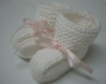 Baby Girl Booties, Hand Knitted Booties, Newborn Booties, Baby Girl White 0 to 3 months Booties, White Booties, Infant Booties, Pink Ribbon